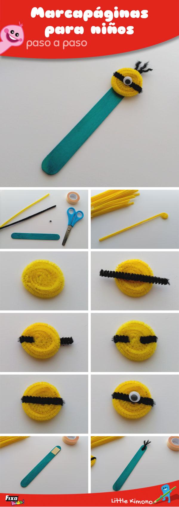 tutorial para hacer marcapáginas minion