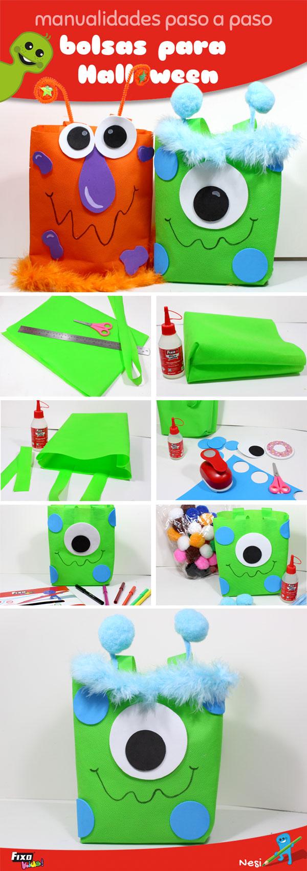 tutorial de bolsas con tejido no tela para niños
