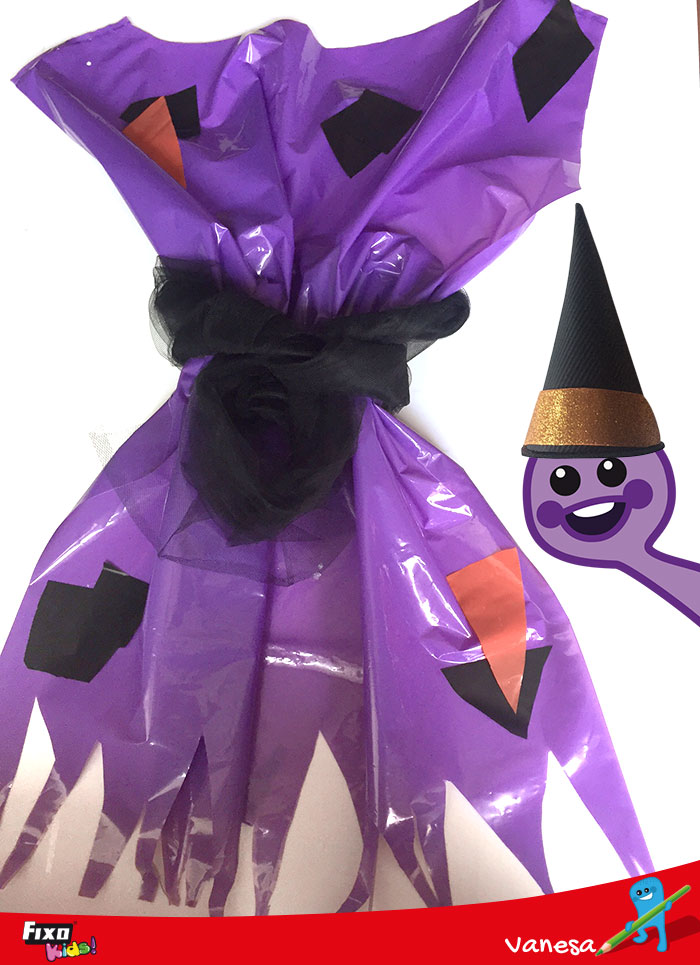 disfraz de bruja bolsa de plástico morada