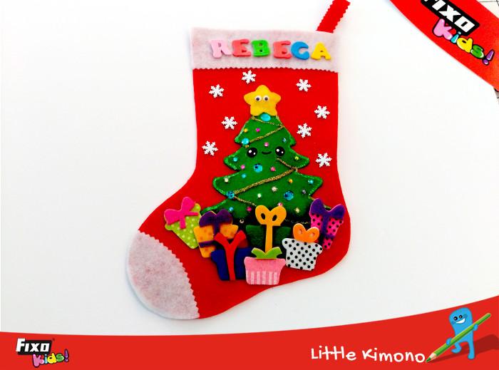 calcetín de navidad árbol kawaii
