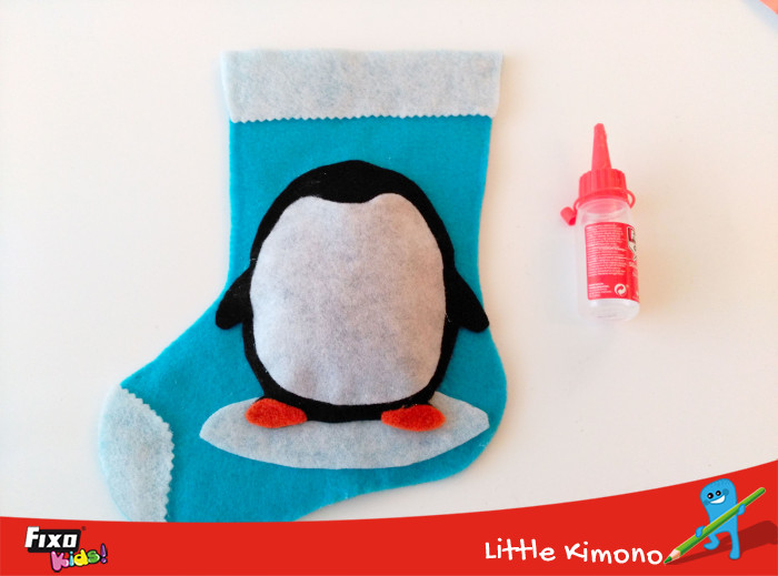calcetín pingüino fieltro