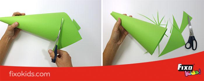 cómo hacer base plana con cartulina para árbol de navidad