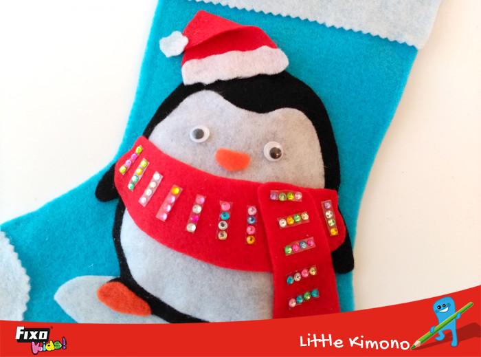 ojos móviles calcetín navideño