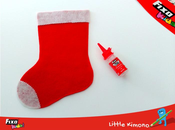 pegar partes blancas calcetín navideño con silicona líquida fixo glue