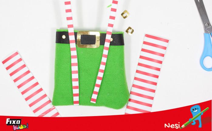 tela de rayas para bolsa de regalo elfo