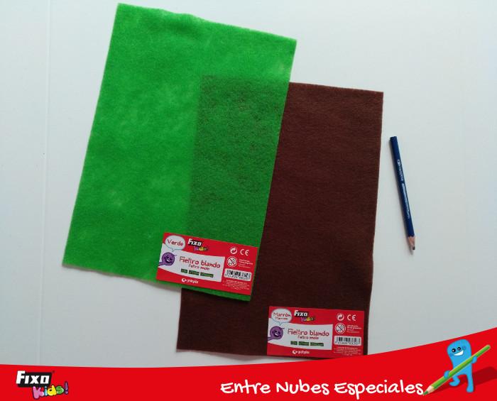 fieltro fixo kids verde y marrón