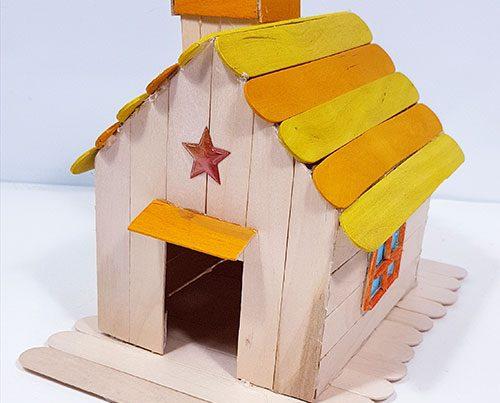 casita palitos madera