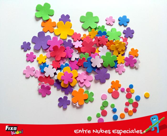 figuras adhesivas goma eva flores