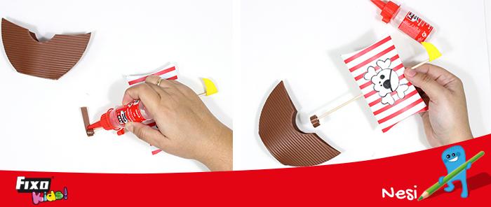 cómo pegar la vela a un dulcero en forma de barco