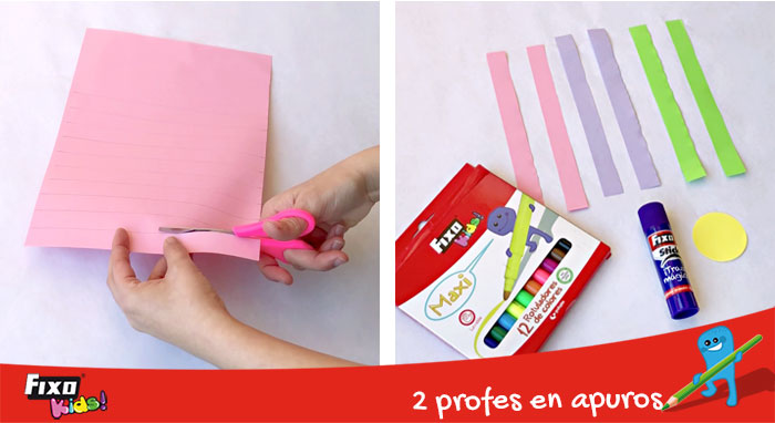 tiras de papel de colores para flor autoestima