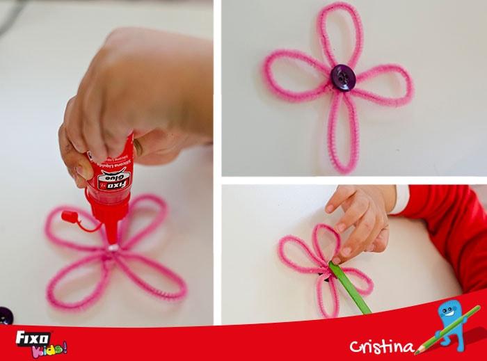 botón para decorar flores hechas a mano