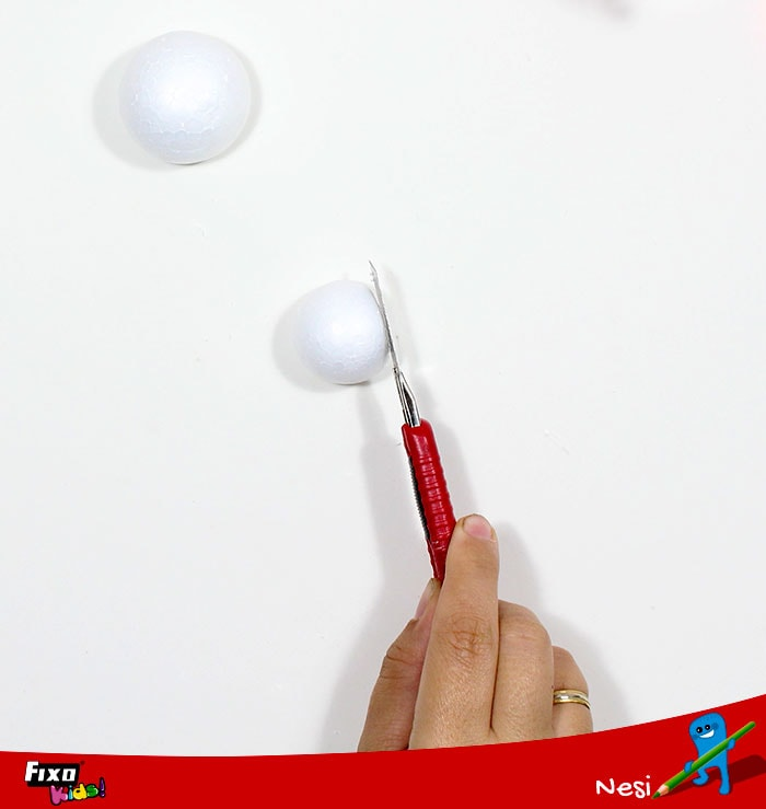 cortar esferas porex base fofuchas