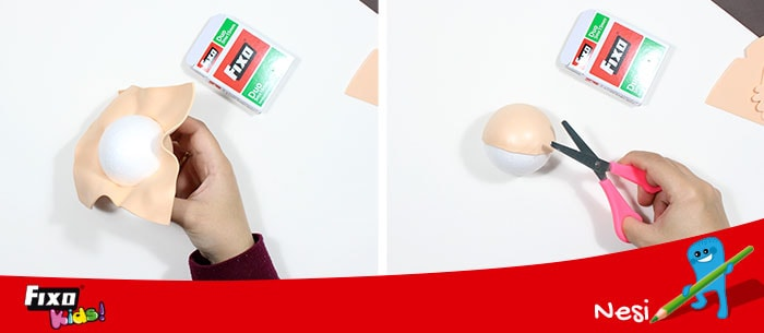hacer cara de fofucha con bola porex y goma eva