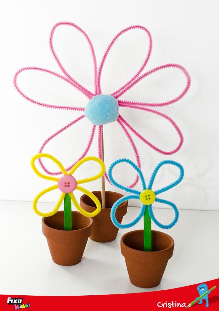 manualidad infantil macetas con flores