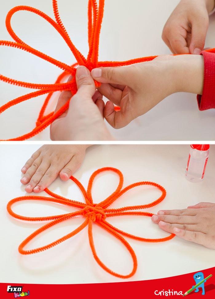 petalos de flor hechos a mano con limpiapipas