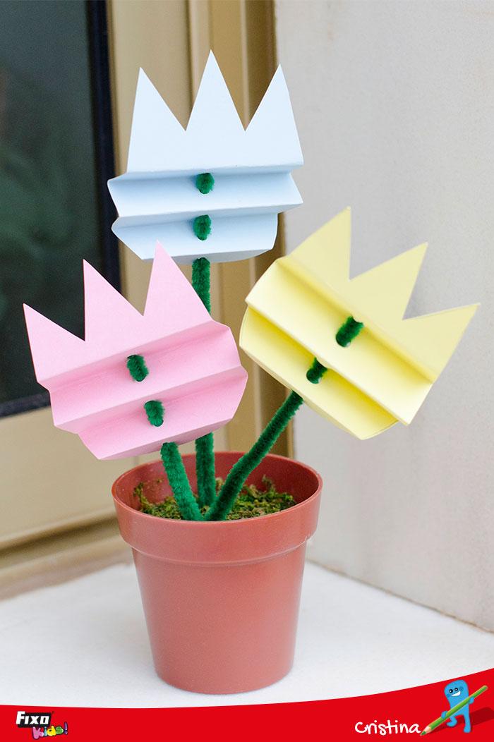 tulipanes de papel faciles de hacer