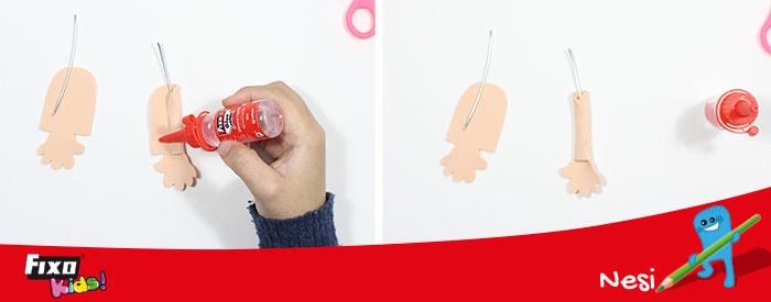 usar alambra para hacer brazos de fofuchas