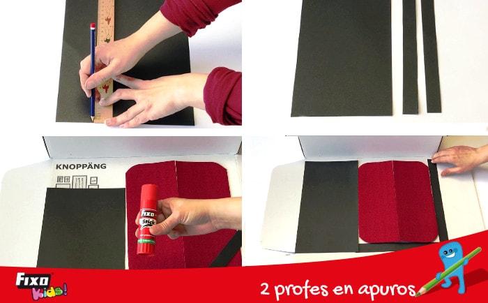 cómo forrar una caja para hacer un teatro