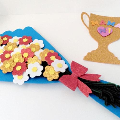 como hacer ramo de flores de goma eva