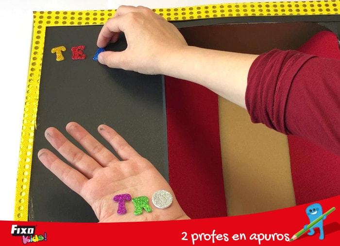 decorar con letras adhesivas de goma eva