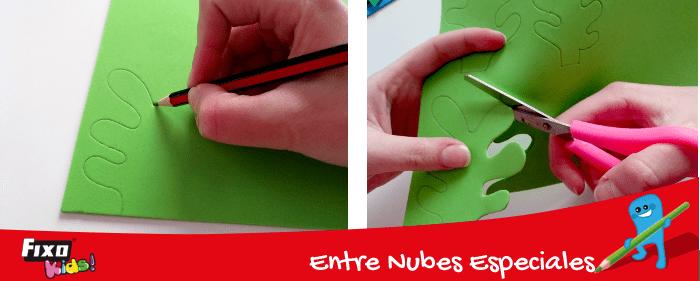dibujar algas sobre foam verde