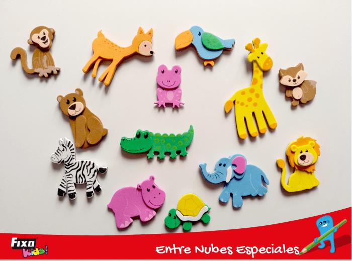 figuras goma eva adhesiva animales selva