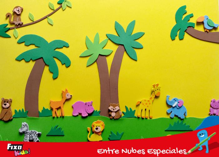 panel didáctico animales de la selva
