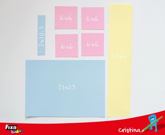 medidas piezas de cartulinas para hacer una tarjeta cascada