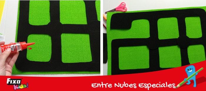 pegar sobre base de goma eva toalla verde