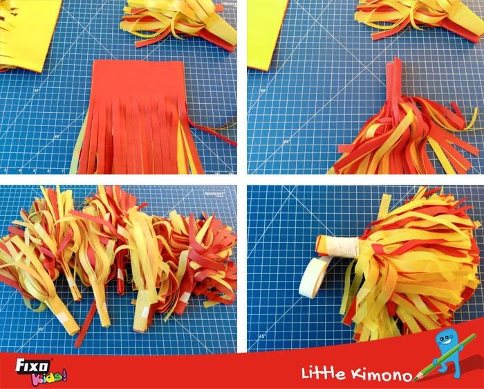 cómo hacer un pompón para animar a la roja