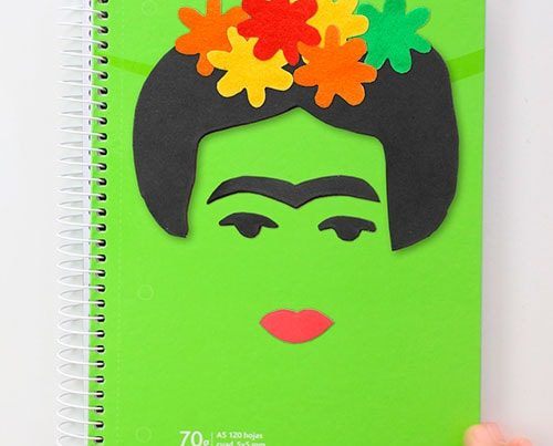 cuaderno decorado frida kahlo