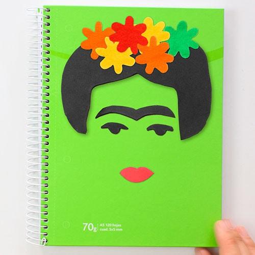 cuaderno decorado frida kahlo