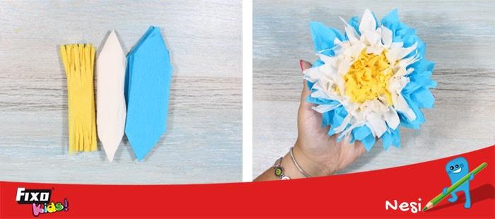 flores de papel crespón tres colores