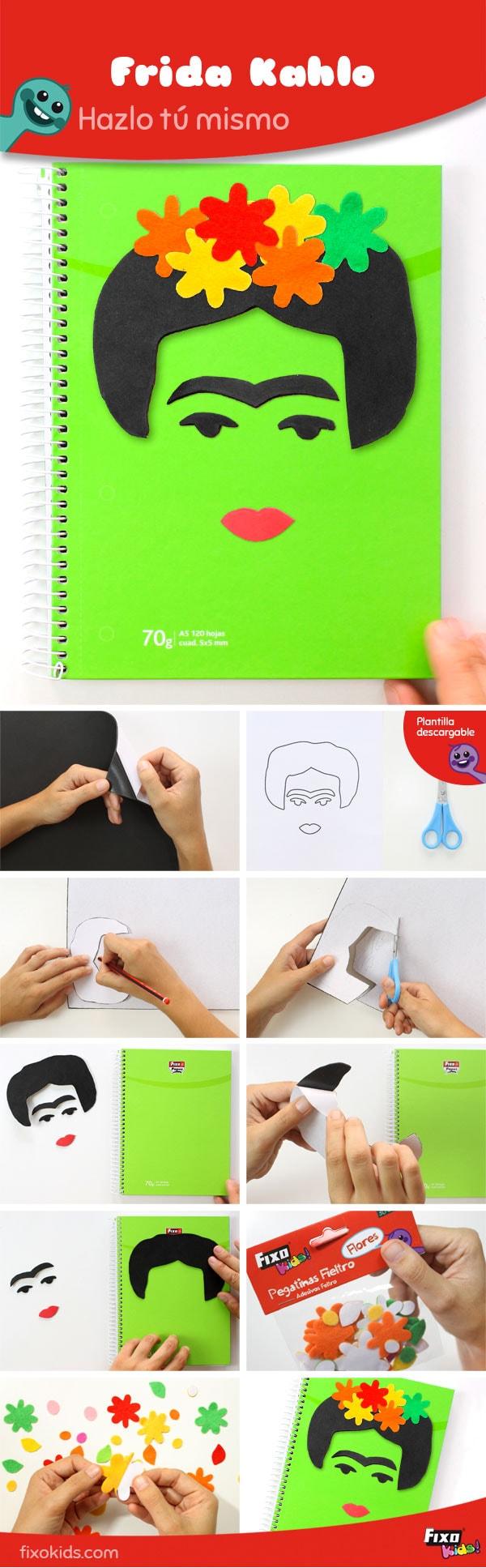 tutorial personalizado cuaderno frida kahlo con goma eva adhesiva