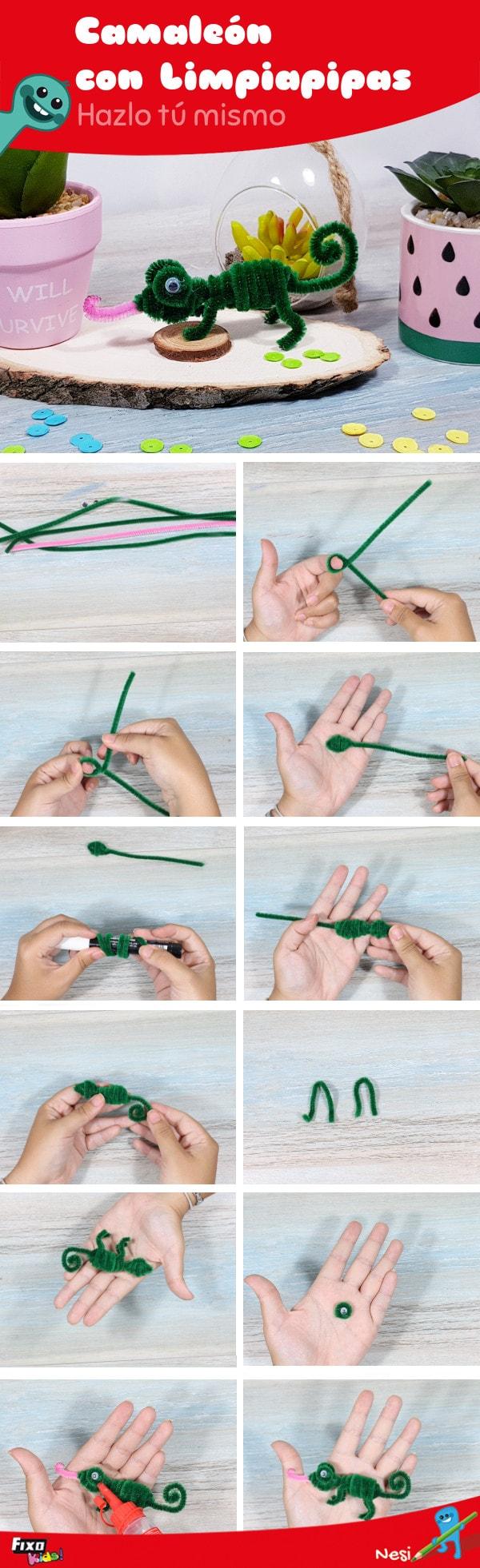 manualidad infantil: cómo hacer un camaleón paso a paso