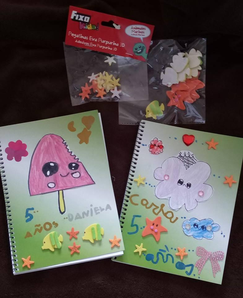 Cuadernos decorados por niñas