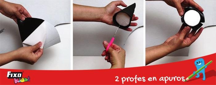 cómo forrar un cono de poliespán con goma EVA adhesivas