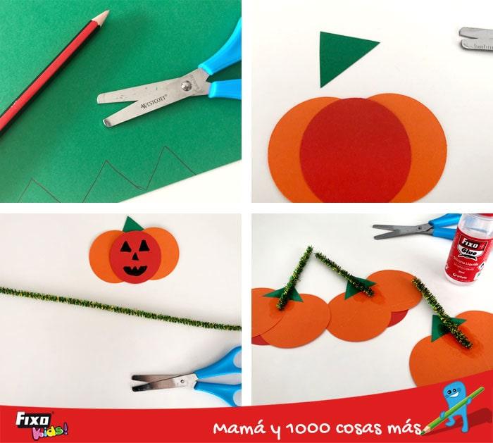 como hacer una guirnalda de halloween para niños