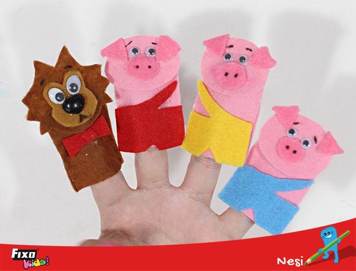 marionetas dedo tres cerditos y lobo