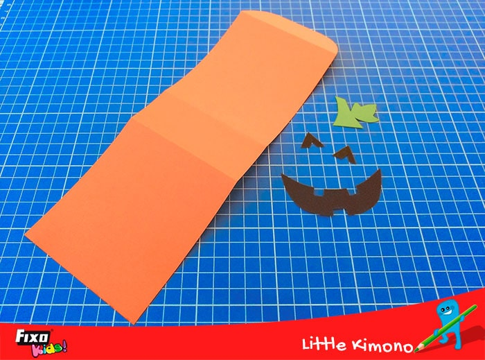 piezas para hacer una caja en forma de calabaza para halloween