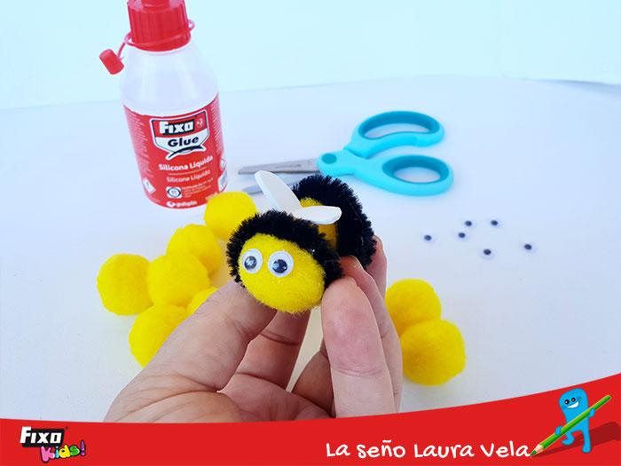 como hacer abejas con pompones y limpiapipas fixo