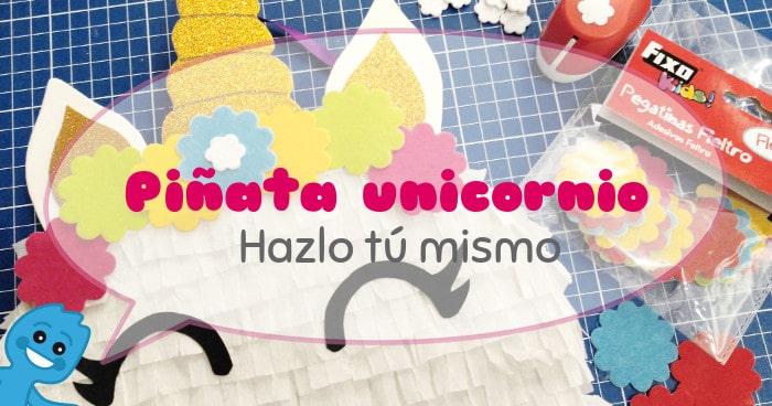 diy piñata unicornio papel crespón y goma EVA purpurina