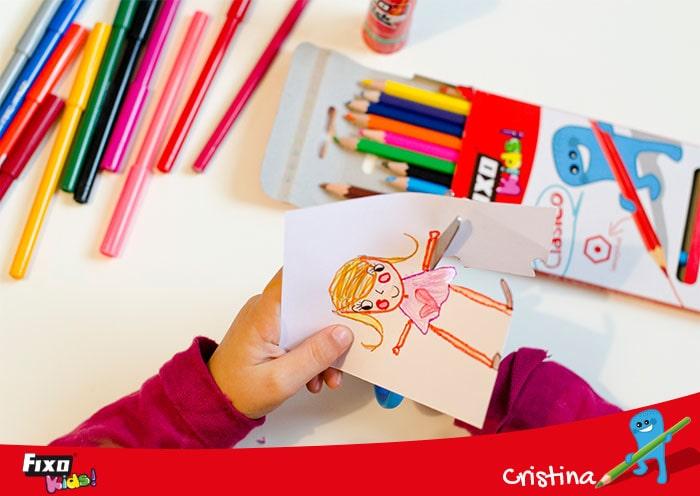 recortar dibujo para hacer tarjetas infantiles