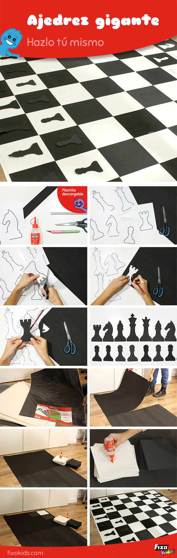 tutorial fácil ajedrez gigante de goma EVA