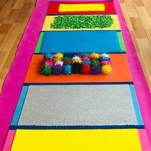 alfombra estimulación sensorial con tela no tejido