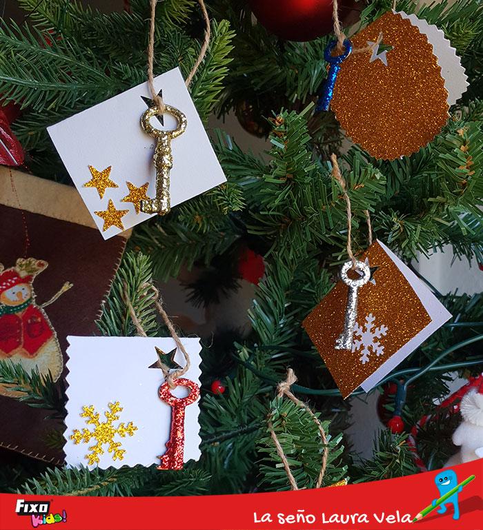 tarjetas regalos cartulina purpurina diy navidad