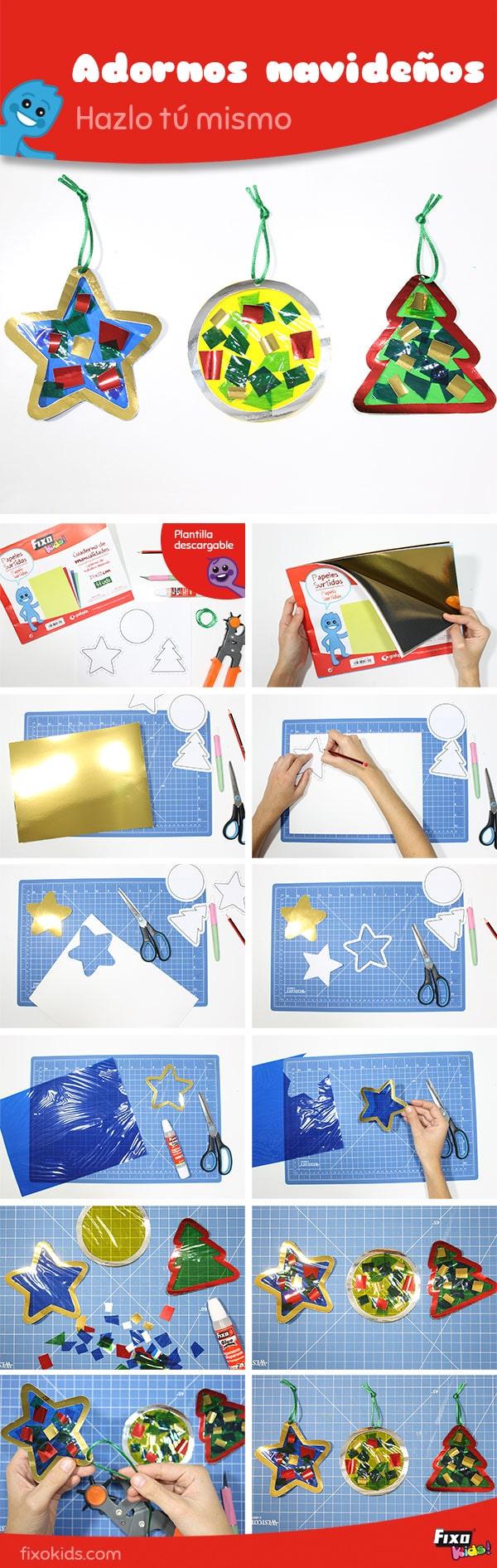 tutorial para hacer adornos navideños para niños fáciles con el cuaderno de manualidades Fixo Kids