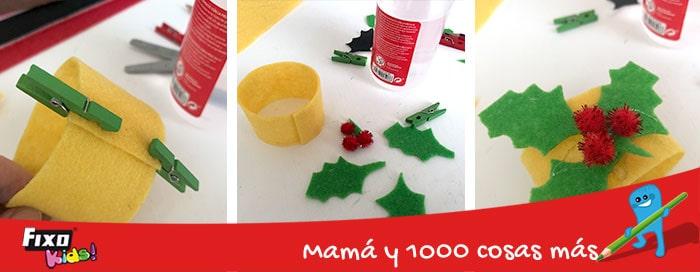 tutorial para niños servilleteros navideños acebo