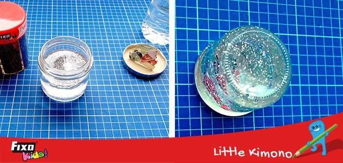 cómo hacer una esfera con un frasco de cristal y purpurina