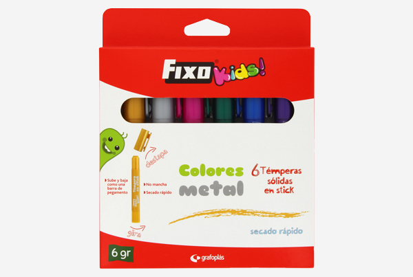 témperas sólidas en stick en colores metal fixo kids. Referencia: 00035199